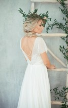 Scoop Short Sleeve V Back Chapel Train A Line White Lace Chiffon Wedding... - $135.00