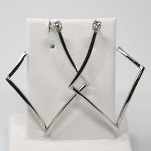SOLID 18K WHITE GOLD PENDANT EARRINGS, RHOMBUS WITH DIAMONDS, LENGTH 30mm  image 3