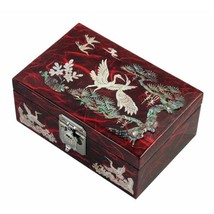 Mother of Pearl Birds and Pine Tree Design Lacquered Wooden Red Mirrored... - $81.97