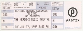 Rare NSYNC 7/27/99 Hartford CT Meadows Music Theatre Concert Ticket! N Sync - $2.99
