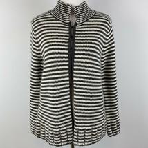 Talbots Cardigan Sweater Large Womens Gray Stripe Merino Wool Lambswool ... - $89.05