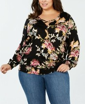 Style & Co. Printed Smocked Top (Black, 0X) - $31.28