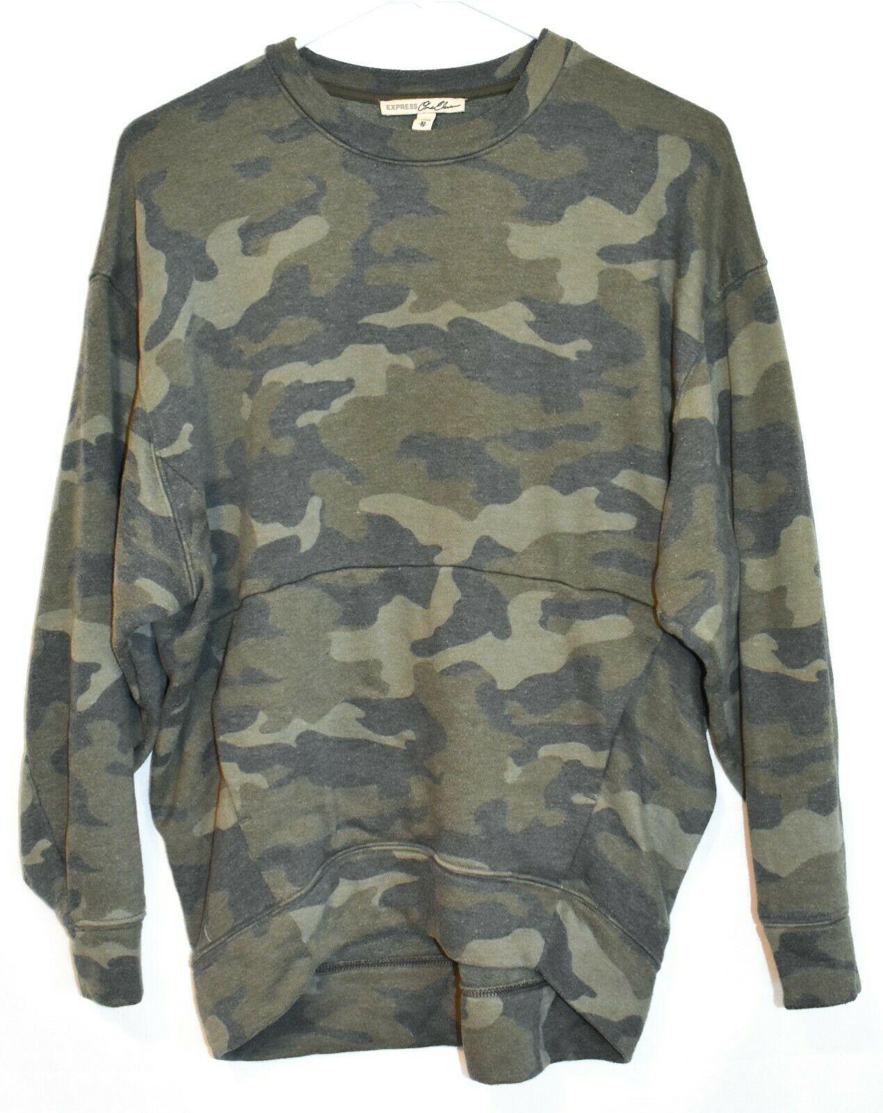 Express One Eleven Women's Faded Camo Crew Neck Front Pocket Sweatshirt Size XS