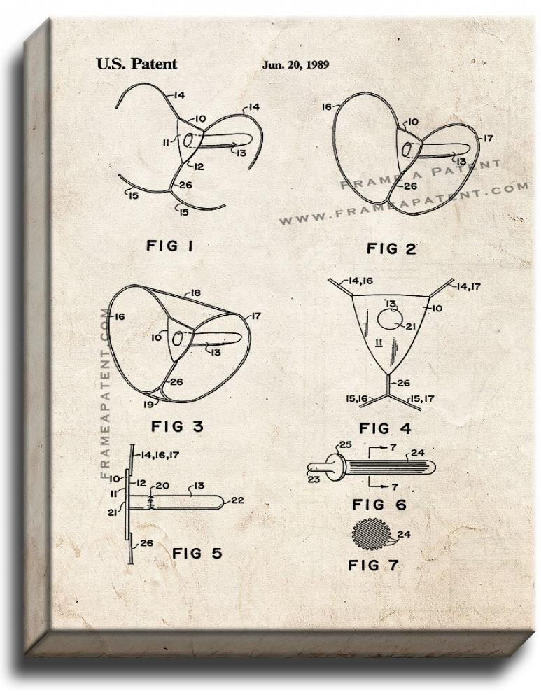 Female Condom Patent Print Old Look on Canvas - $39.95 - $159.95