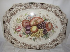 "Vintage Johnson Brothers England Windsor Ware HARVEST Fruit 20"" Turkey P... - $304.77"