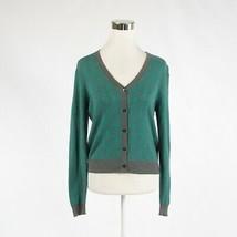 Teal green gray polka dot 100% cotton CABI long sleeve cardigan sweater S - $24.99