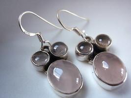 Triple-Gem Rose Quartz Dangle 925 Silver Earrings - $15.83