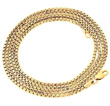 "Hip Hop 14K Gold GP Venetian Round Box Chain Necklace 3mm 24"" Lobster clasp - $7.69"