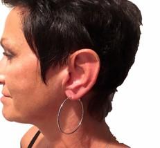 """eli k Womens 925 Sterling Silver Plate 2"""" Lever Back Hoops Earrings - $18.58"""