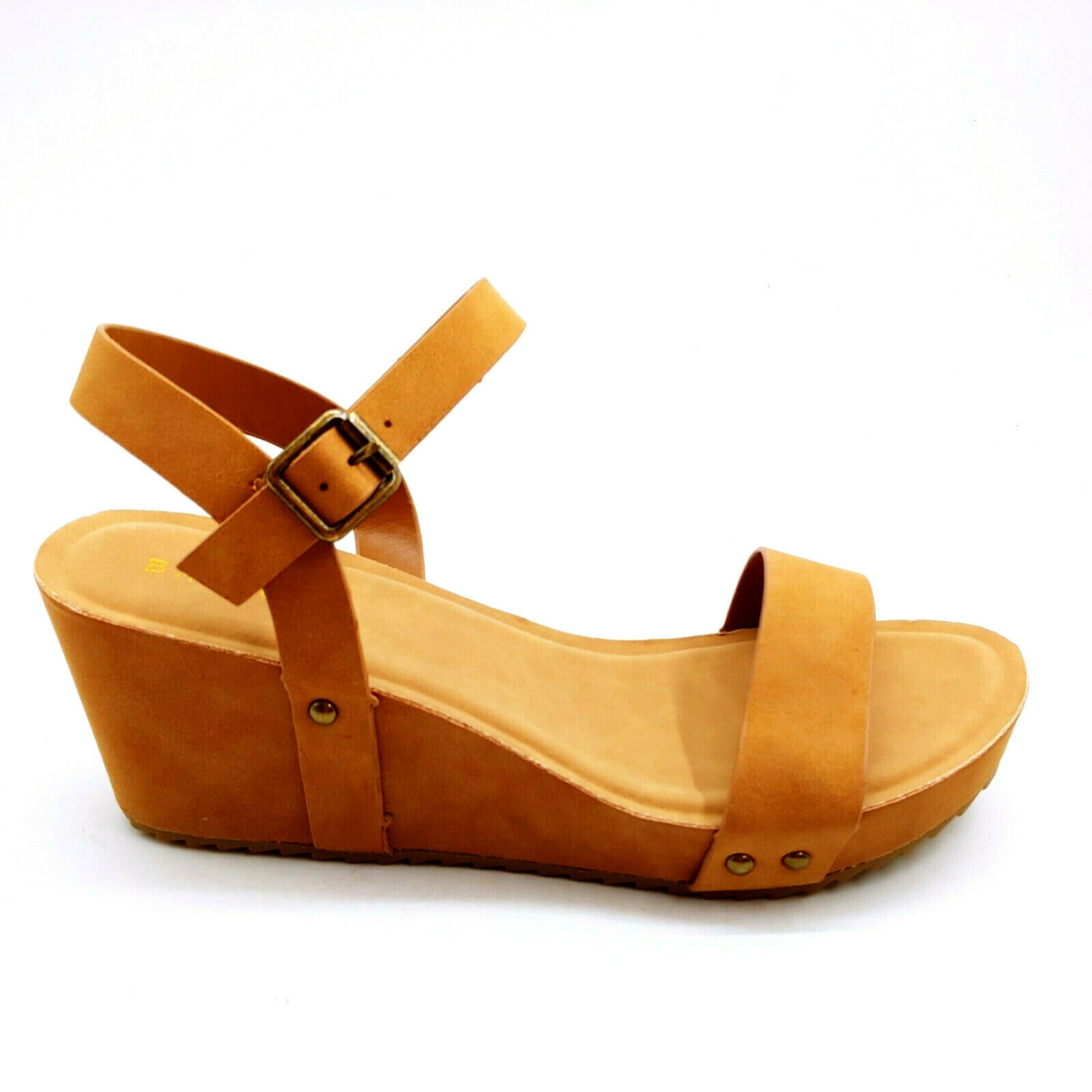Primary image for Bamboo Womans Syrup 03 Wedge Heel Ankle Strap Sandal Tan Cushioned Sz 10 M NEW