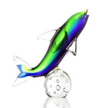 Art Glass  Dolphin on Sphere Figurine Blue & Green,10''H. - $48.51