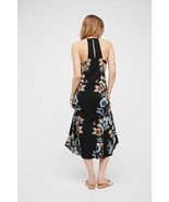 New $128 Free People Back To You Midi Dress BLACK Floral Cut Out Sides - $48.00