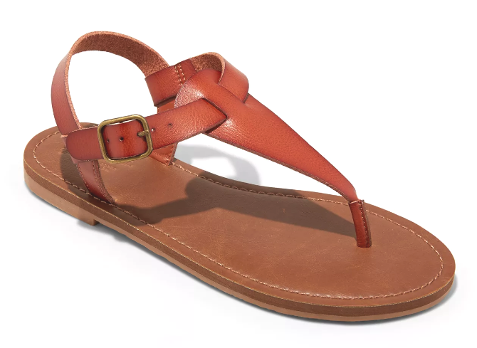 Universal Thread Women's Cognac Lady Toe Thong Summer Sandals Vegan NEW w Tags