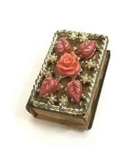 Vintage Match Box Holder Brass floral Sweden Petite shabby flowers - $19.79