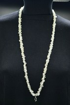 Clear Quartz Polished Gemstones Long Necklace Vintage No Clasp Silver Tone - $24.74