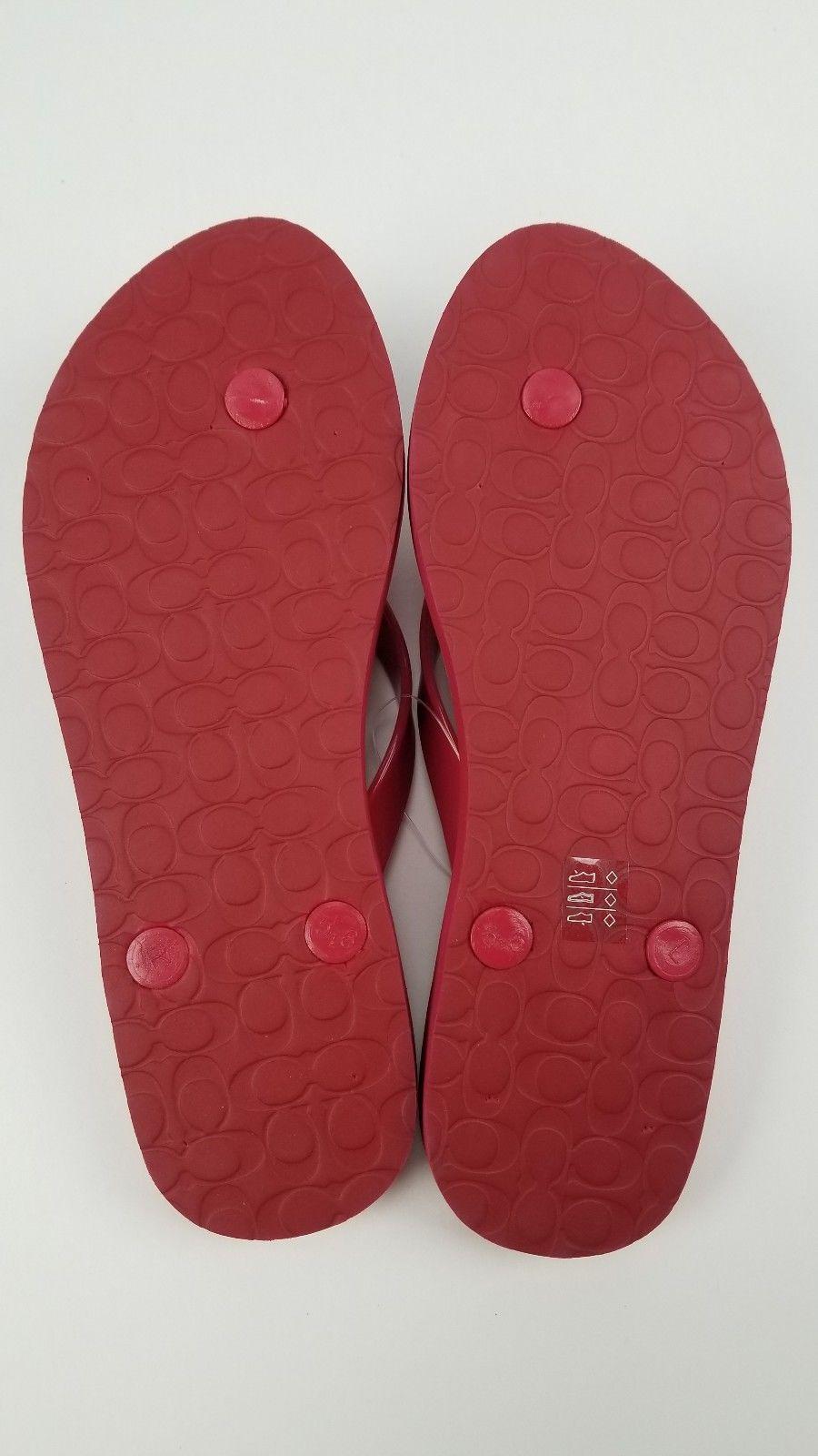 b71539b008fa Womens Coach Red Abigail Floral Rubber Flip Flop Thong Sandal Size 5 New