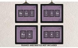 YOGA BELAY SKI RUN Periodic Table of Elements Home Decor Prints - Set of... - $12.84