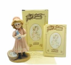 Jan Hagara figurine vtg limited edition 1985 Laurel baby basket blue cat... - $29.65