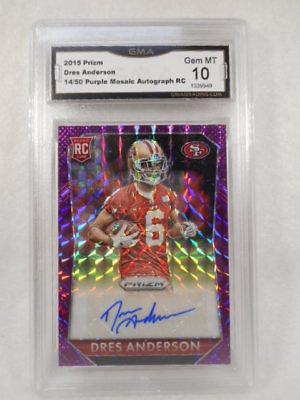 2015 Prizm 14/50 Dres Anderson Purple Mosaic Auto Rookie GMA Graded Gem 10