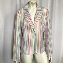 Talbots Sz 12 Blazer Jacket Striped Cotton Blend Stretch Pink Yellow White Blue - $24.99