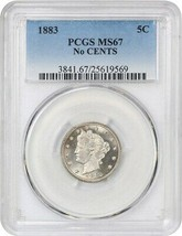 1883 5c PCGS MS67 (No Cents) Popular 1-Year Type Coin - Liberty V Nickel - $1,746.00