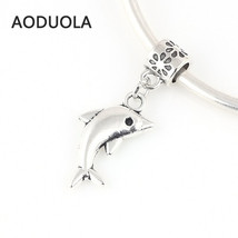 Charms 10 Pcs a Lot Silver Dolphin Pendant Big Hole Fits Pandora Bracele... - $21.99