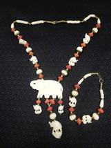 Vintage Celluloid African Carved Red Coral Elephant Necklace & Bracelet Set - $44.55