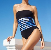 Calvin Klein One Piece Sz 6 Black Atlantis Blue UV 50+ Bandeau Swimsuit ... - $49.44
