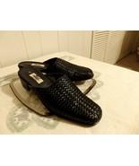 11 Women Low Heel Leather Clog Flat Shoe Slide Mule Black Slip On Dress ... - $16.84