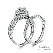 Cluster Halo Infinity 925 Sterling Silver Cubic Zirconia Engagement Ring Set - $53.20