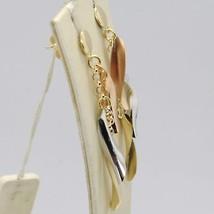 Boucles D'Oreilles Or Rose Jaune Et Blanc 750 18K Pendentifs à Frange en Italie image 2