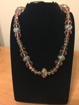 Clear & Pink Beaded Necklace Hand Made - $12.92