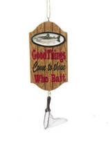 "KSA RESIN LODGE FISHING PLAQUE ORNAMENT ""GOOD THINGS COME TO THOSE WHO B... - $11.88"