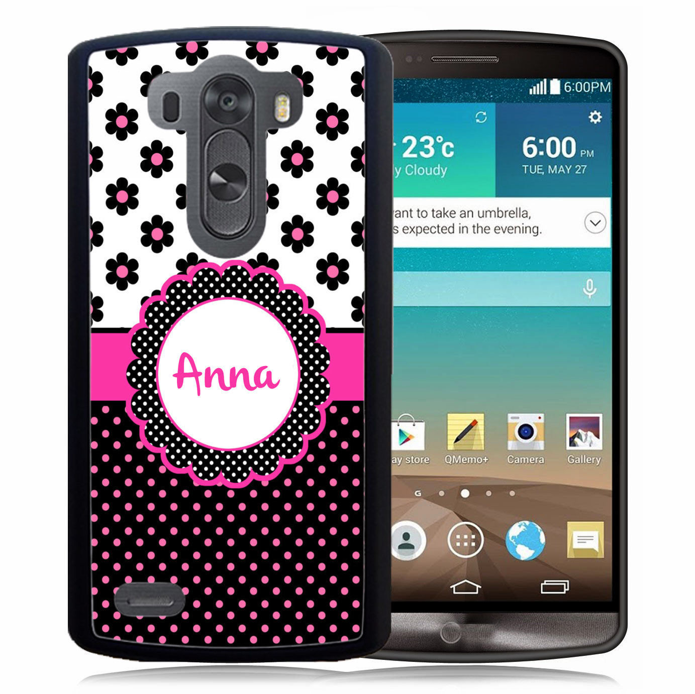 PERSONALIZED RUBBER CASE FOR LG G6 G5 G4 G3 POLKA DOTS FLOWERS PINK BLACK