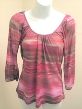 Express S Top Red Pink Striped Semi Sheer Mesh Raglan 3/4 Sleeve Vibrant - $19.58
