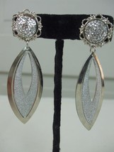 "Silver Tone Pierced Earrings Round Crystals Bling Top Dangle Tear Drop 3"" Light - $9.99"