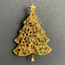 AAI Christmas Tree Brooch Pin Vintage Gold Tone Enamel Signed Open Work  - $14.80