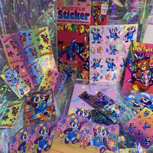 Lisa Frank PANDA PAINTER HOLLYWOOD BEAR lot Stickers Stationery Notecard Etc Mor
