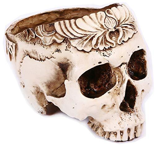 Primary image for Halloween Decor Resin Skull Shaped Head Flower Pot Planter Container Decoration