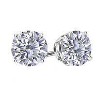 4Ct Simulated Diamond Brilliant Cut 14K White Gold Push Back Stud Earrings  - $29.68