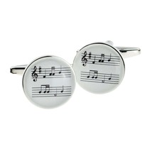music, stave, music sheet cufflinks, silver with sheet music design on cufflinks