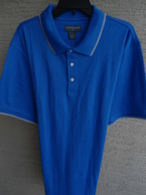 NWT MENS SADDLEBRED S/S TEXTURED JERSEY KNIT POLO SHIRT ROYAL BLUE XL - $12.19