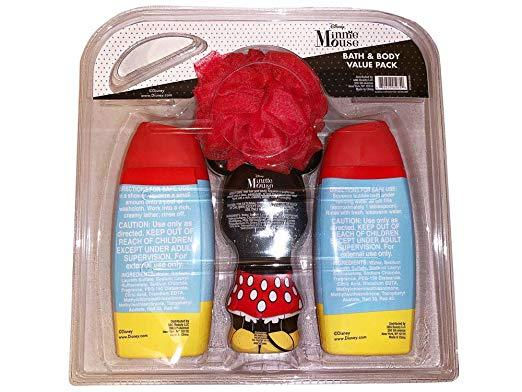 Disney Minnie Mouse Bubble Bath Body Wash & Pouf -Shampoo & Conditioner Gift Set