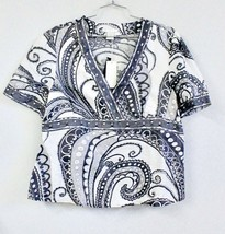 Tweeds NWT Gray & White Paisley Linen Beaded Sequined V-Neck Top SZ XL B... - $24.99