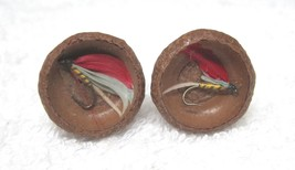 Vintage Cuff Links Wood and Real Fishing Fly's Acorn Tops Super Fun! D3 - $22.28