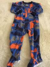 Carters Boys Blue Orange Gray Dinosaurs Fleece Long Sleeve Pajamas 12 Mo... - $5.71