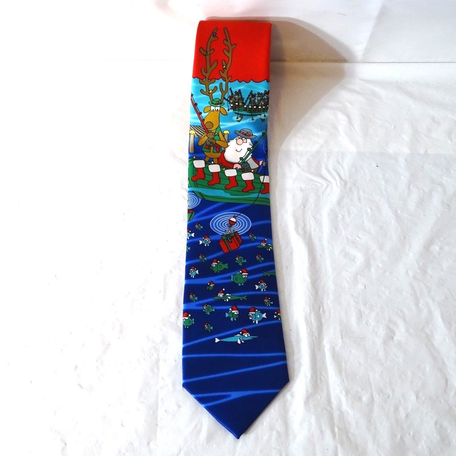 Hallmark Holiday Traditions by MMG Christmas Tie Santa and Reindeer Fishing