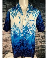 Vintage Royal Creations Hawaiian Aloha Shirt Large Blue Floral Polyester... - $29.69