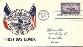 First Day Cover - Scott#838 3c Iowa Centennial Plimpton Cachet - $3.47