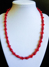 """19"""" red coral, crystal, and artglass bead necklace - $60.00"""